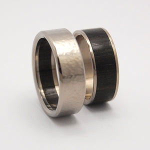 BOG | Aged Bog Oak & Titanium - Unique Wedding Rings - Titanium Wedding Ring Sets - Minter and Richter Designs