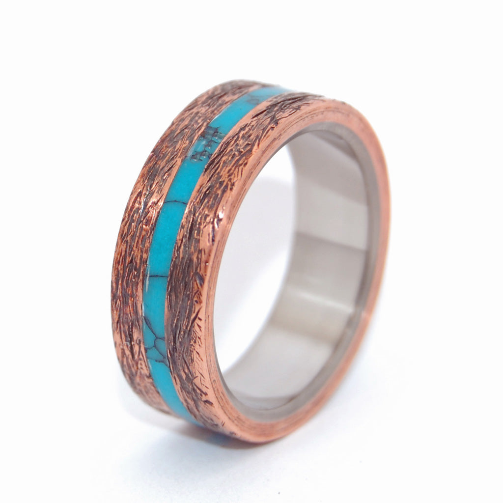 One Soul Turquoise Hand Beaten Copper | Copper Titanium Mens Ring