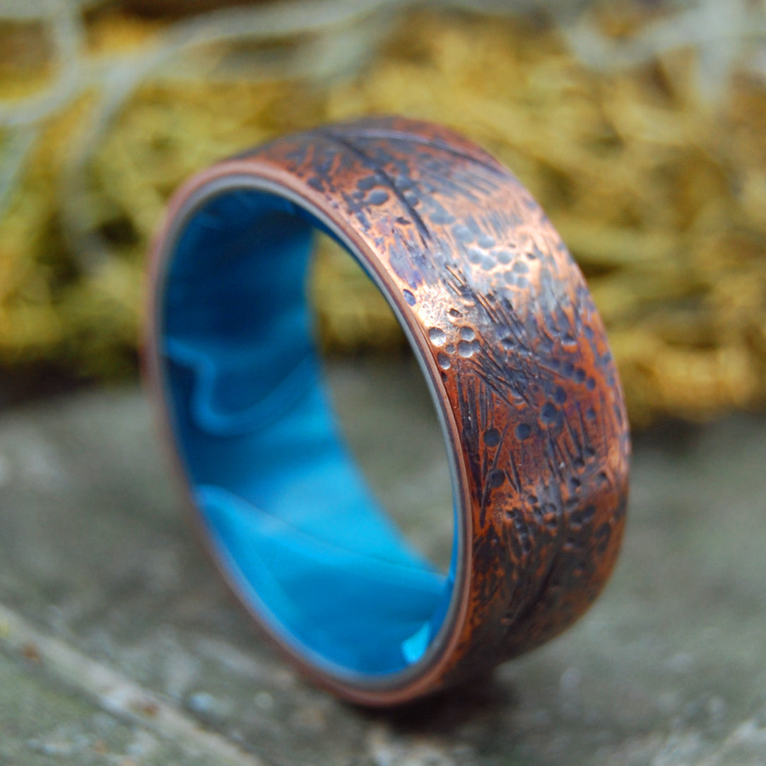 BEATEN COPPER AQUATIC | Hand Beaten Copper & Aquatic Resin - Titanium Men's Rings - Minter and Richter Designs