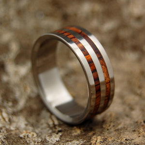 HARVEST | Cocobolo Wood & Hawaiian Koa Wood Titanium Custom Men's Wedding Rings - Minter and Richter Designs