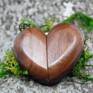 Wedding Ring Box for One Ring - Heart Shaped Wooden Ring Box