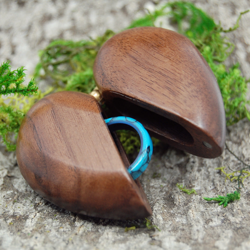 Wedding Ring Box for One Ring - Heart Shaped Wooden Ring Box - Minter and Richter Designs