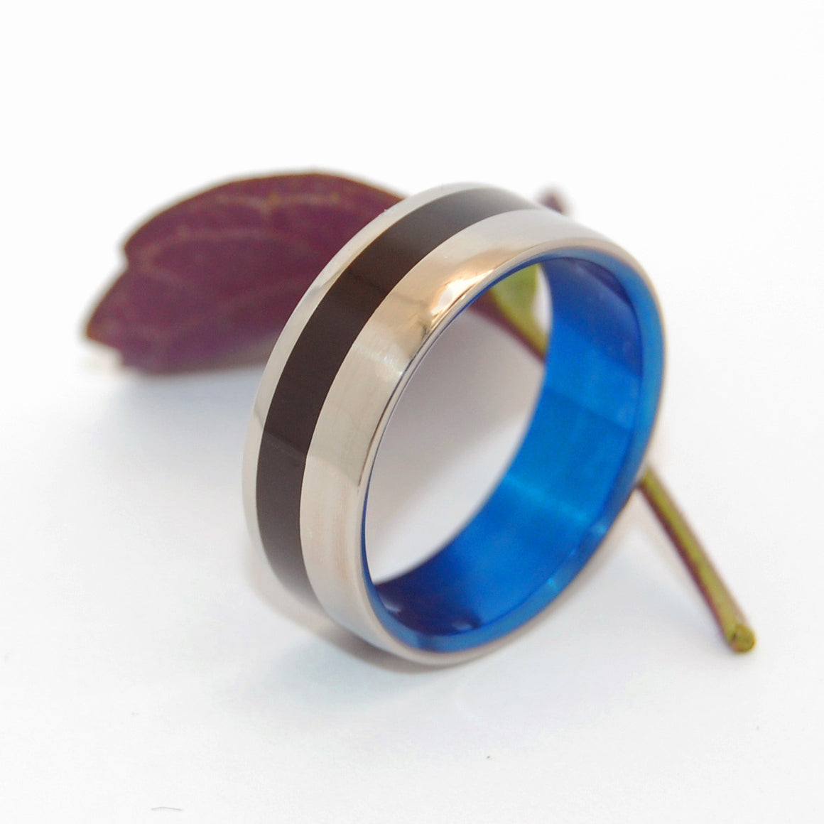 Beveled Heathcliff | Horn and Hand Anodized Titanium Wedding Ring - Minter and Richter Designs