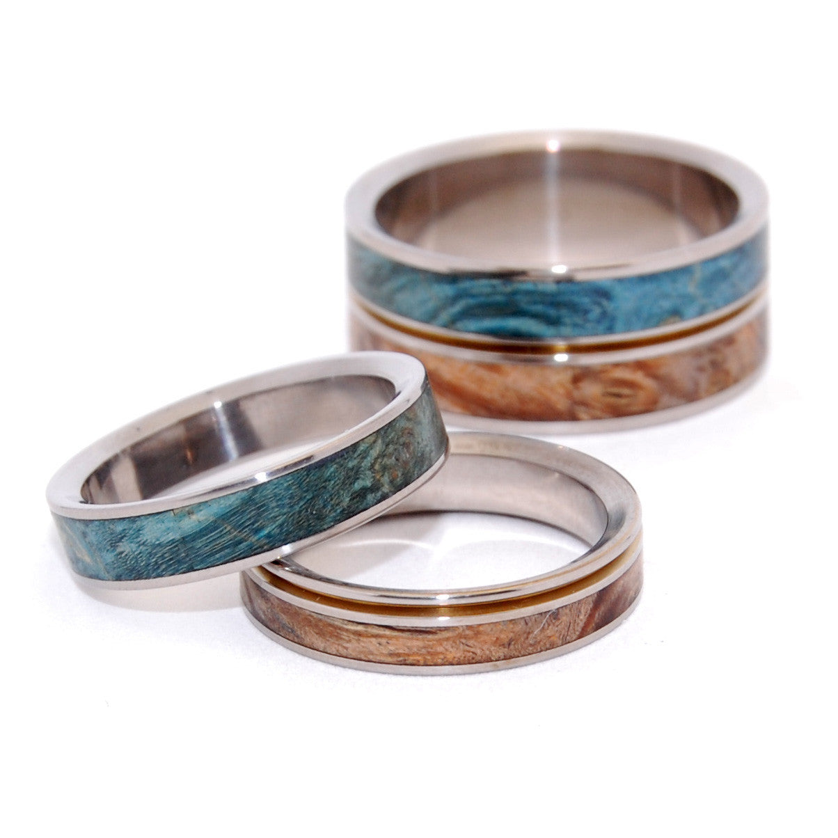Titanium Wedding and Engagement Ring Sets (3 rings) - Minter and ...