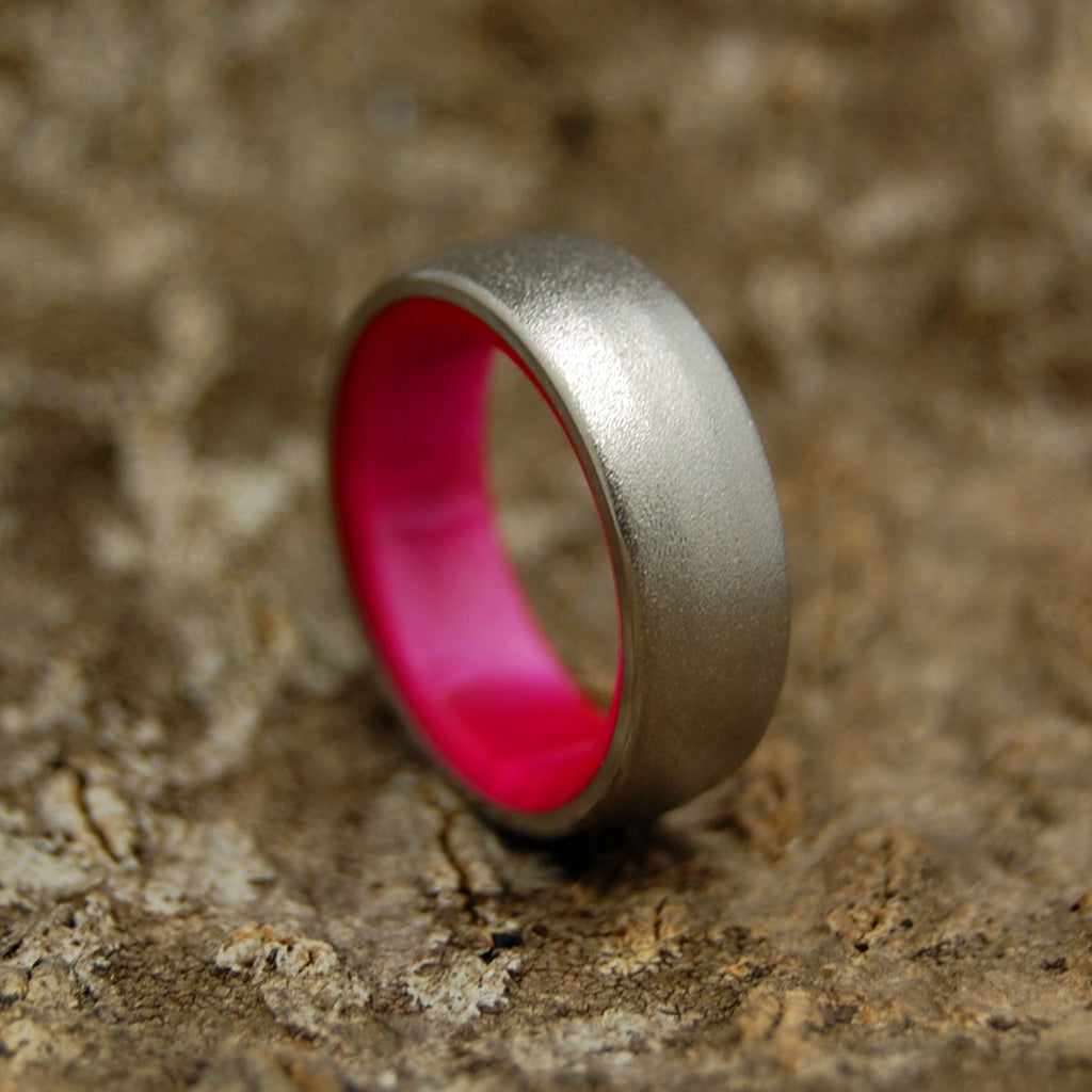 HER OWN SOLDIER | Titanium & Pink Marbled Resin Wedding Bands - Minter and Richter Designs