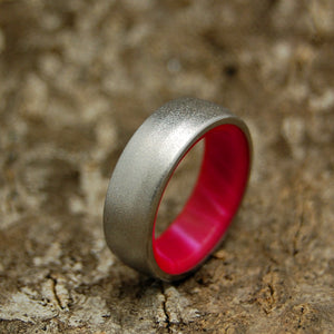 Her Own Soldier | Titanium Pink Wedding Bands