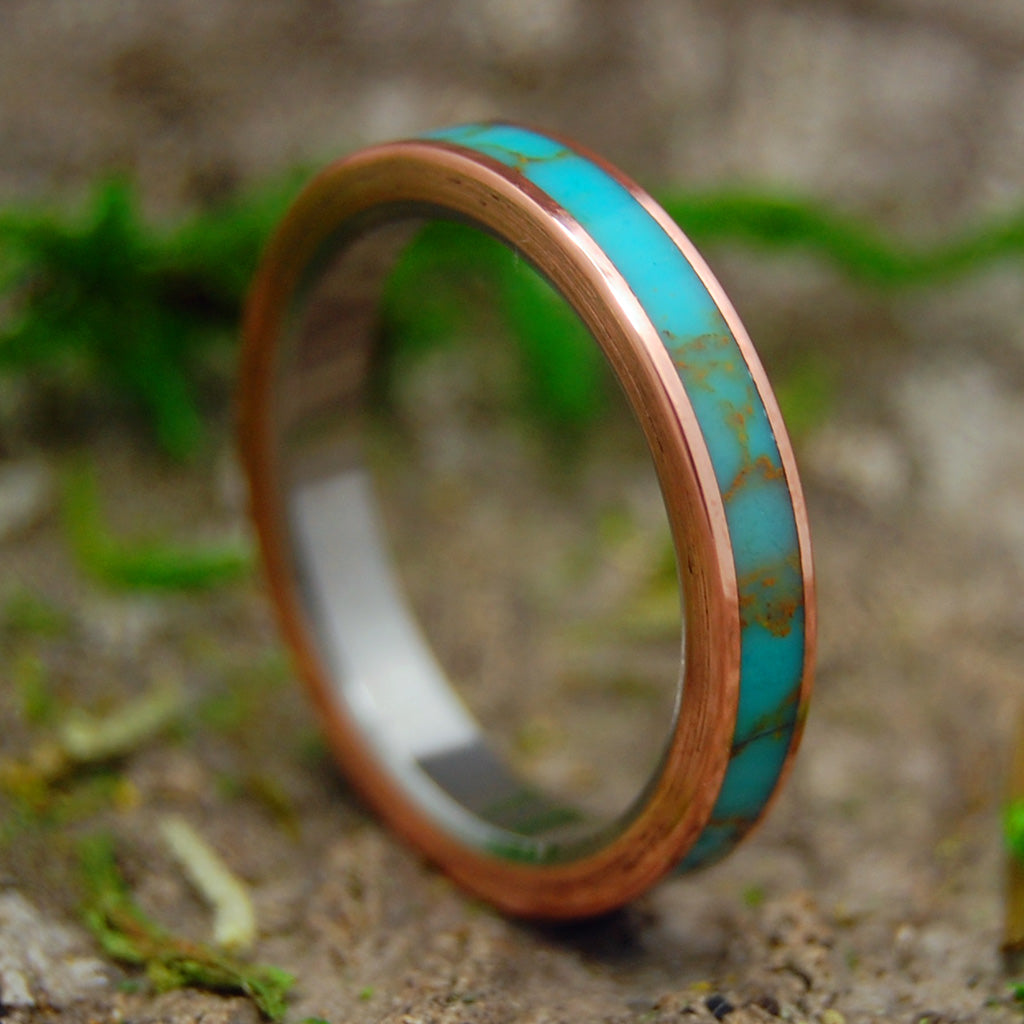 HER SAMANA | Tibetan Turquoise & Copper Titanium Women's Wedding Rings - Minter and Richter Designs
