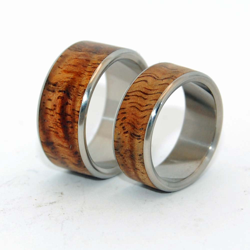 Hidden Forest | Koa Wood Matching Wedding Ring Set