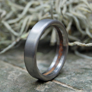 HUMBLE BULLY BOY | Whiskey Barrel Wood Titanium Wedding Rings - Minter and Richter Designs