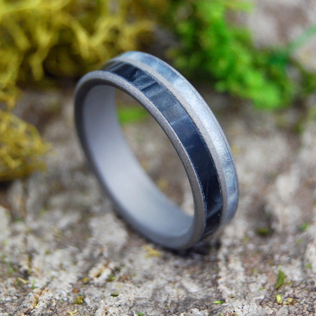 I MEAN BUSINESS | Black & Gray Pearl Marbled Resin Titanium Wedding Rings - Minter and Richter Designs