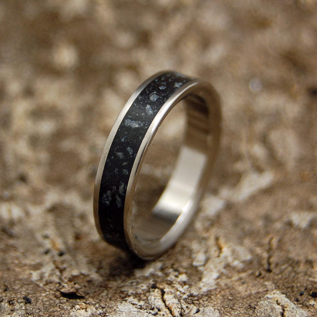 Beach Sand Lava Wedding Ring - Handcrafted Women's Titanium Wedding Rings | ICELANDIC LAVA