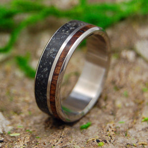 Black Wedding Ring - Mens Ring | ICELANDIC SAND AND HAWAIIAN KOA WOOD