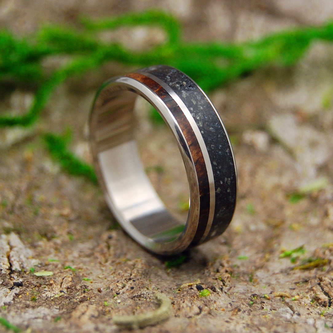 ICELANDIC HEART | Beach Sand & Koa Wood Titanium Wedding Ring - Minter and Richter Designs