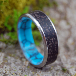 Black Wedding Ring - Mens Ring | ICELANDIC SAND AND TURQUOISE - Minter and Richter Designs