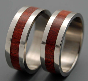 I DO | Bloodwood & Titanium - Unique Wedding Rings - Wooden Wedding Rings - Minter and Richter Designs