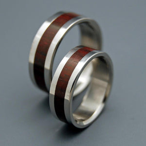 THE HEART HAS ITS REASONS | Rosewood &Titanium Wedding Rings Set - Wooden Wedding Rings - Minter and Richter Designs