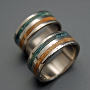 GIVING TREE | Blue Maple Burl Wood & Spatled Maple Titanium Wedding Rings Matching set - Minter and Richter Designs
