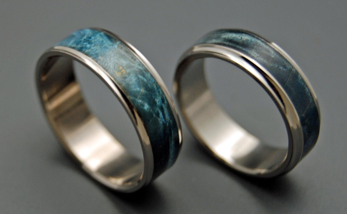 CASPIAN | Blue Box Elder Wood & Titanium Wedding Rings Set - Wooden Wedding Rings - Minter and Richter Designs