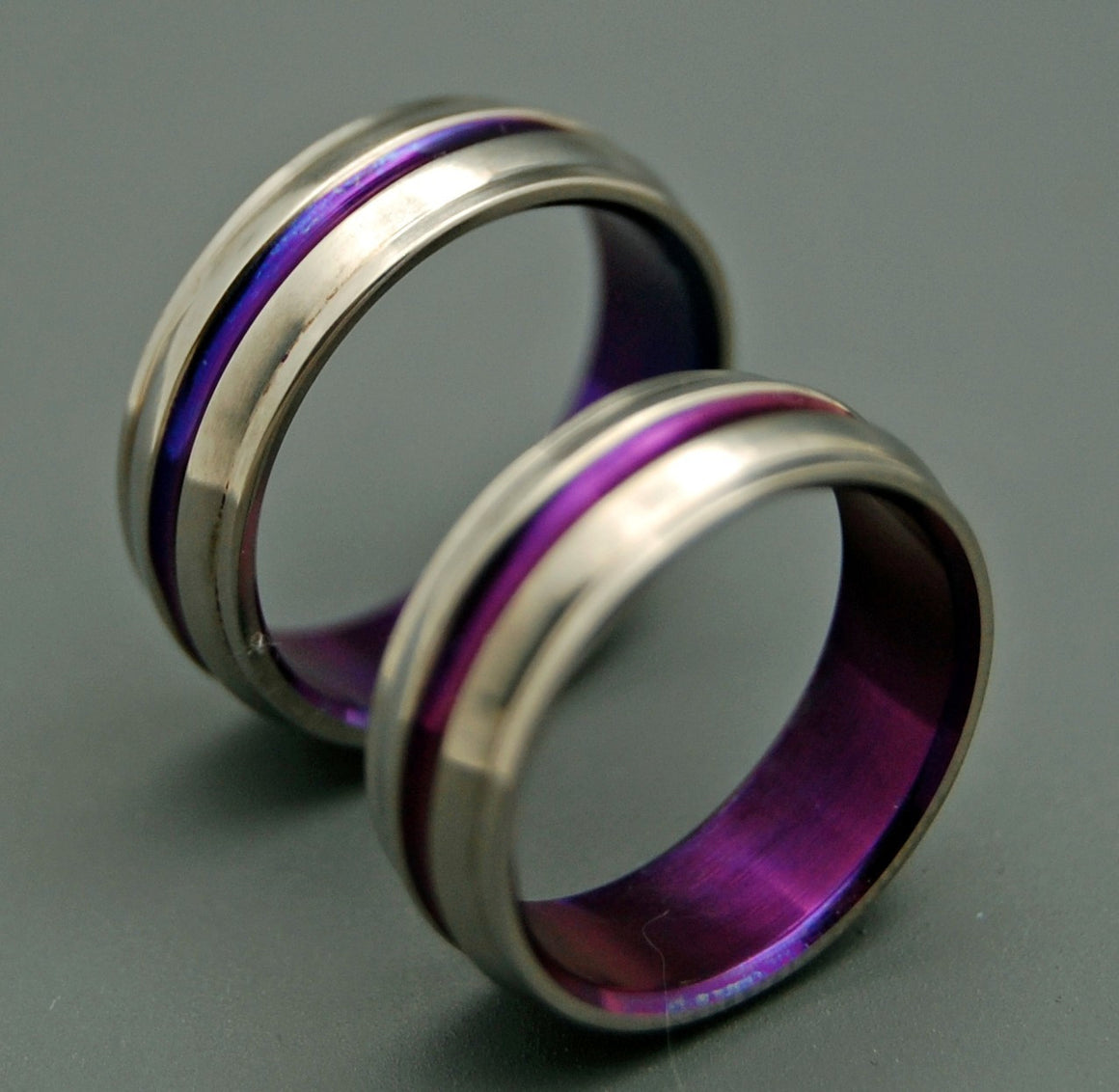 PASSION FOR PURPLE | Purple Handcrafted Titanium Custom Rings Wedding Ring Set - Minter and Richter Designs