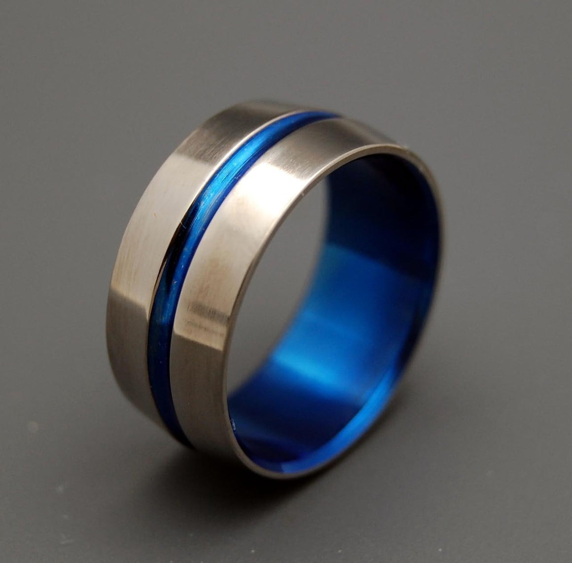 BLUE SIGNATURE RING | Blue Anodized Titanium Wedding Rings, Men's Rings - Minter and Richter Designs