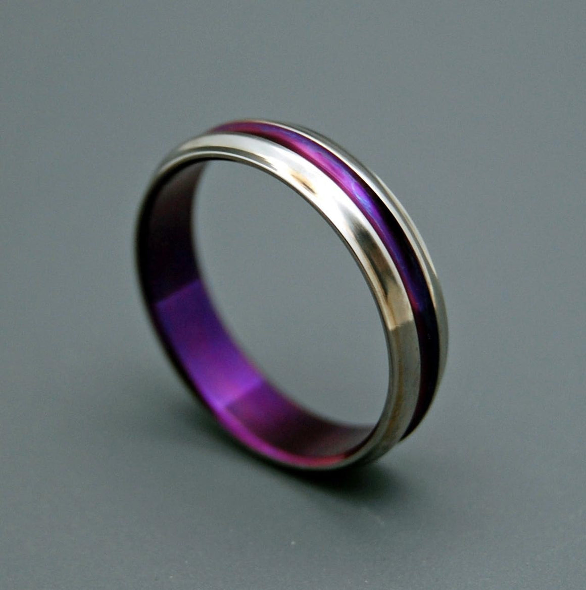 PASSION FOR PURPLE | Purple Handcrafted Titanium Wedding Rings Custom Rings for Women - Minter and Richter Designs