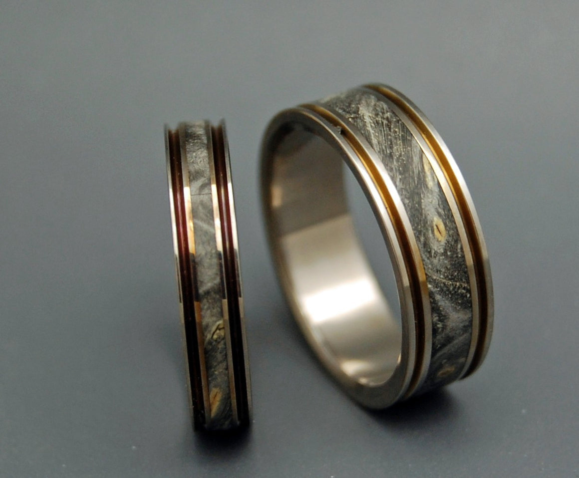 THE DOOR IN FRONT OF YOU | California Buckeye Wood & Titanium - Wedding Ring Sets - Unique Wedding Rings - Minter and Richter Designs