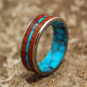 IN THE MIDST OF THE WATERS | Bloodwood & Turquoise Titanium Wedding Rings - Minter and Richter Designs