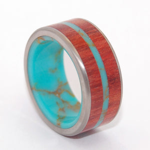 Mens Wedding Ring - Titanium Turquoise Ring | IN THE MIDST OF THE WATERS