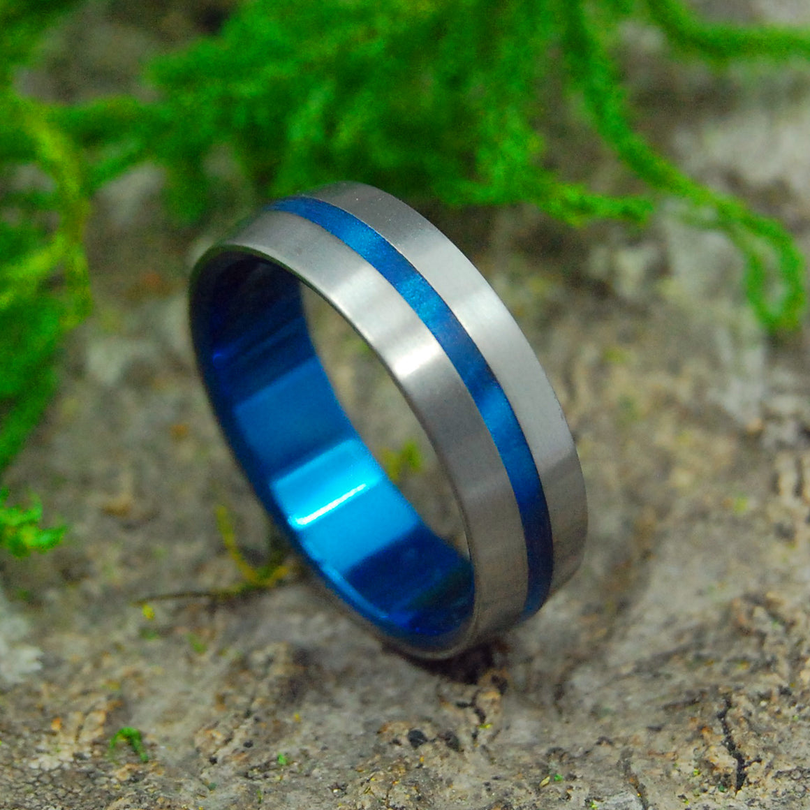 INSPIRED BY BLUE | Blue Marbled Opalescent Resin & Titanium Wedding Rings - Minter and Richter Designs