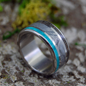 Men's Wedding Rings - Handcrafted Meteorite and Titanium Ring | GOING FORWARD GONE - Minter and Richter Designs