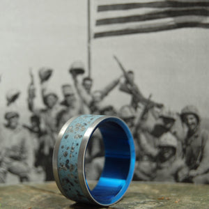 HEROES OF IWO JIMA | Iwo Jima Beach Sand - Military Memorial Wedding Rings - Minter and Richter Designs