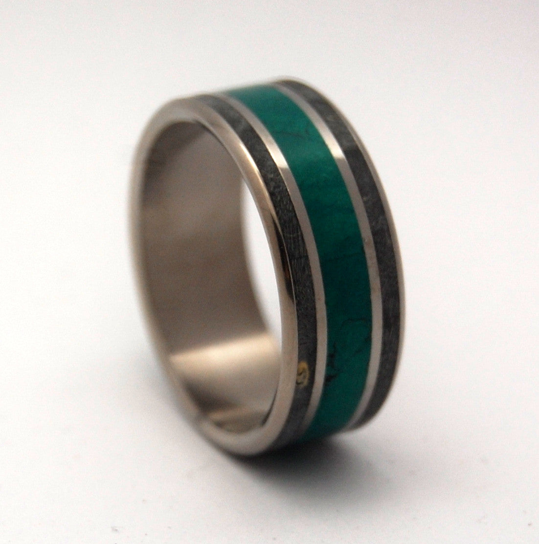 MORNING SONG | Imperial Jade & Black Box Elder Wood Titanium Wedding Rings - Minter and Richter Designs