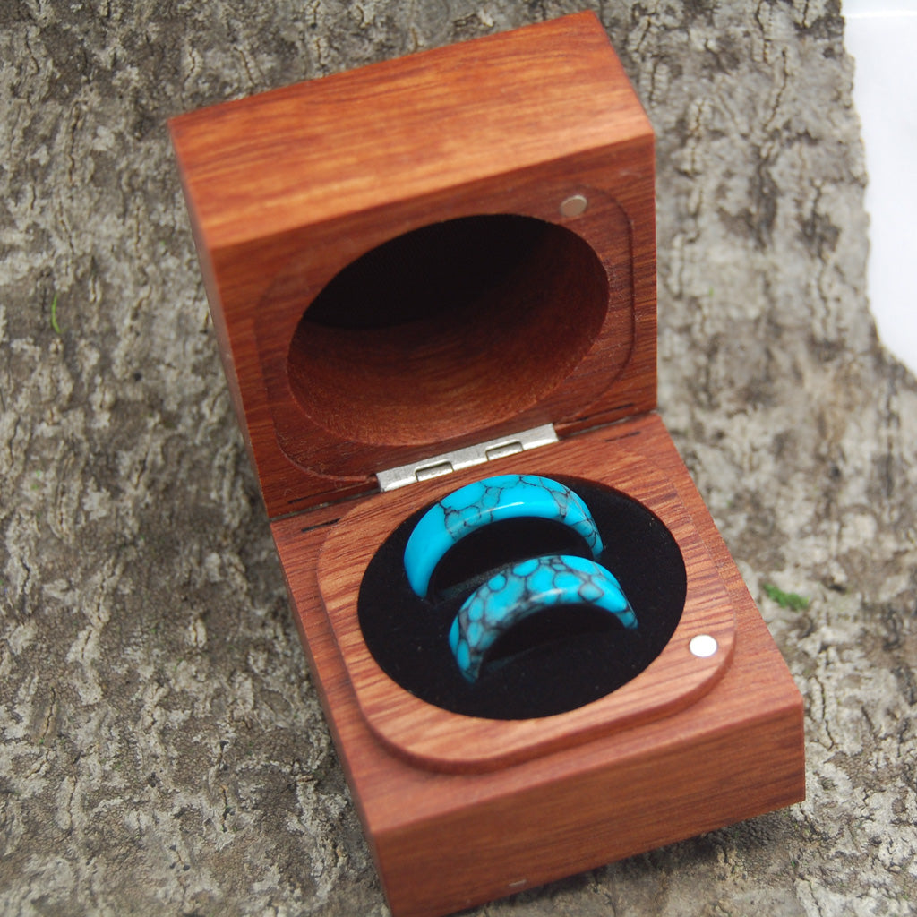 Wedding Ring Box for Two Rings - Jarrah Wood Classic Box Style