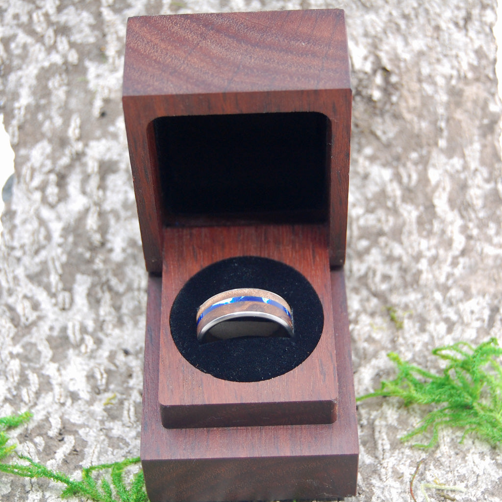 Wedding Ring Box for One Ring - Jarrah Wood Grand Roxy Box Style - Minter and Richter Designs