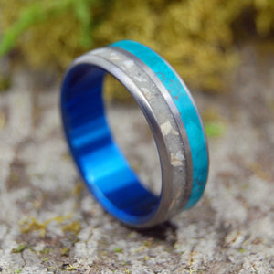JERUSALEM STONE | Chrysocolla & Jerusalem Cobblestone Titanium Men's Wedding Rings - Minter and Richter Designs