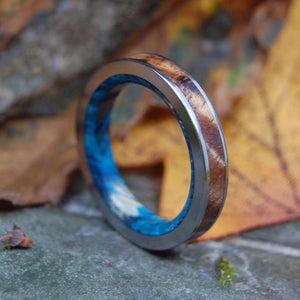 ANASTASIUS | Blue Box Elder & Hawaiian Koa Wood Titanium Wedding Rings - Minter and Richter Designs