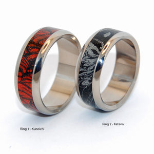 KATANA RED & BLACK |  M3 Mokume Gane & Titanium - Black Wedding Rings - Unique Wedding Rings Sets - Minter and Richter Designs