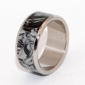 KATANA | Black Silver M3 Mokume Gane & Titanium - Black Wedding Rings - Unique Wedding Rings - Minter and Richter Designs