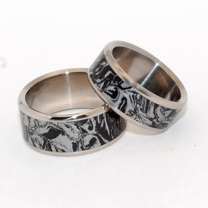 KATANA | Black Silver M3 Mokume Gane & Titanium - Black Wedding Rings - Unique Wedding Rings Sets - Minter and Richter Designs