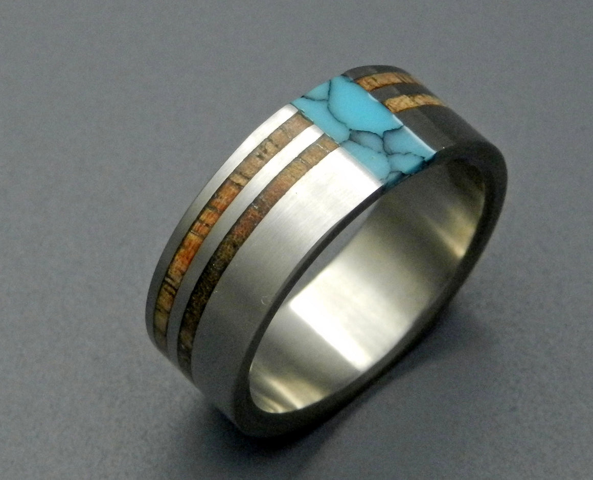 KOA COMET CONSTELLATION | Turquoise Stone & Hawaiian Koa Wood - Handcrafted Titanium Wedding Rings - Minter and Richter Designs