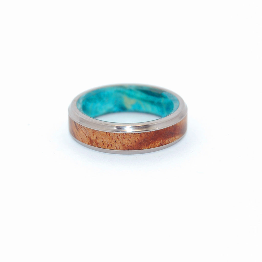 KOA BLUE | Hawaiian Koa Wood & Blue Box Elder Wood Mens Wood Wedding Bands - Minter and Richter Designs
