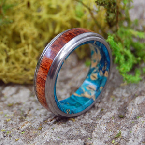 Men's Wedding Ring - Koa Wood Blue Box Elder Titanium Ring | BEACH WEDDING RING