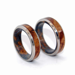 Koa Wood and Dark Blue Box Elder Wedding Set