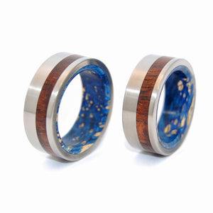 Koa Wood Private Universe Rings | Wood Titanium Wedding Rings - Minter and Richter Designs