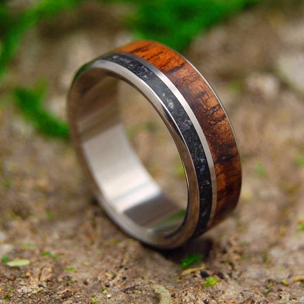 Black Wedding Ring - Mens Ring | ICELANDIC SAND AND HAWAIIAN KOA WOOD II
