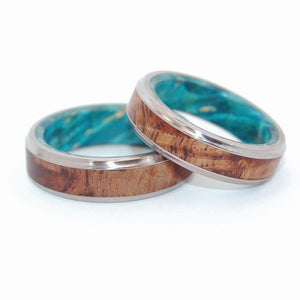 Hawaiian Koa Wood and Light Blue Box Elder | Handcrafted Titanium Wedding Rings
