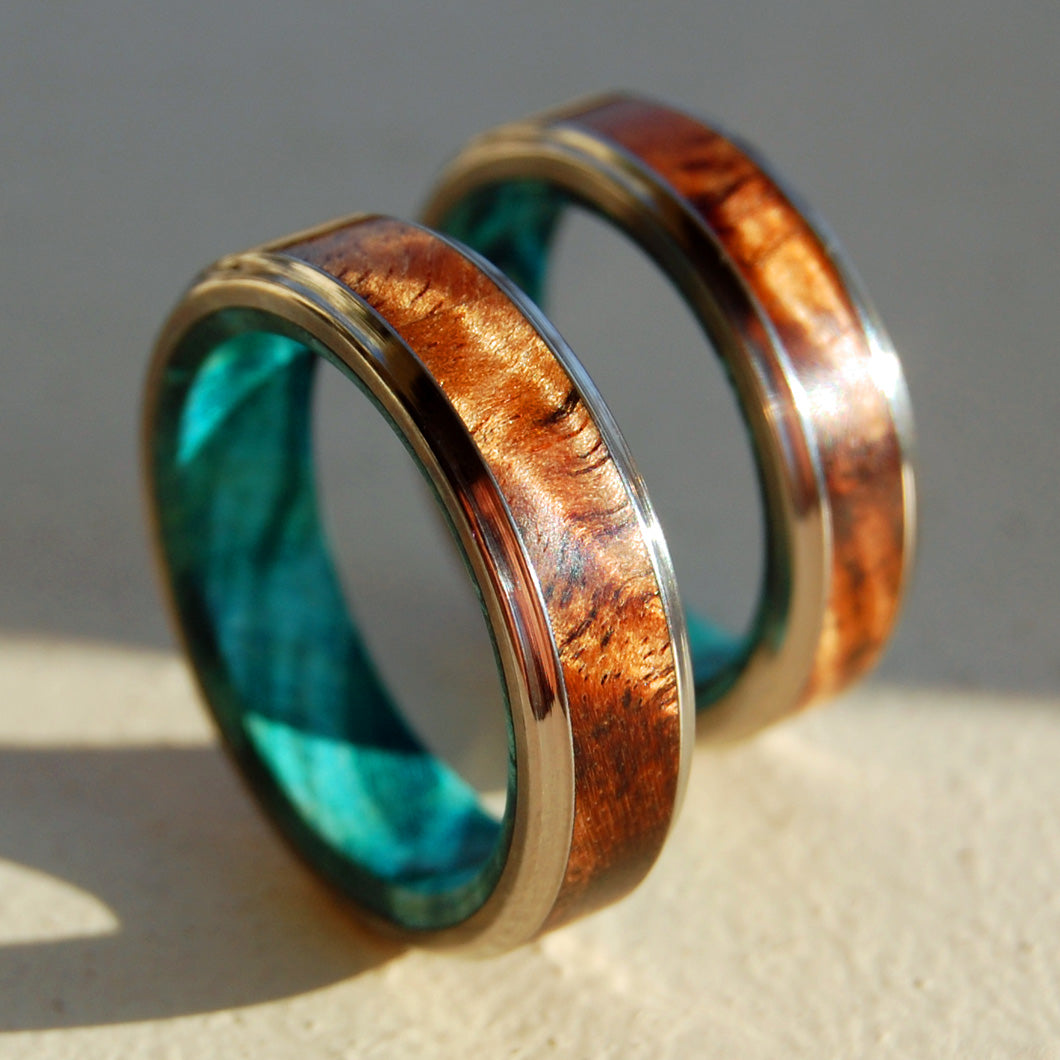 Hawaiian Koa Wood and Light Blue Box Elder | BEACH WEDDING RING SET
