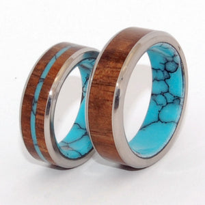 LET THERE BE | Turquoise Stone, Hawaiian Koa Wood & Titanium - Unique Wedding Rings Set - Minter and Richter Designs