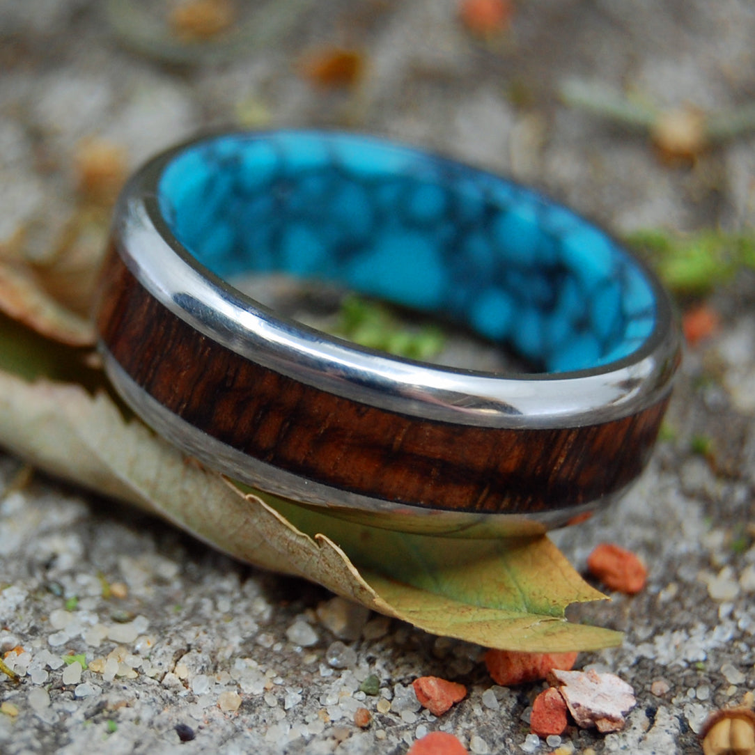 KOA TO THE SEA |  Turquoise & Koa Wood Wedding Band - Minter and Richter Designs
