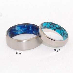 LAKE & SWIRLING SEA | Turquoise Stone and Blue Vintage Resin - Unique Wedding Rings - Minter and Richter Designs